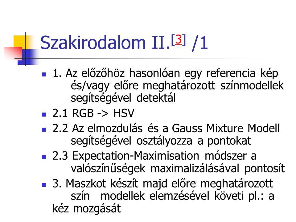 Szakirodalom II.[3] /1 1. Az előzőhöz hasonlóan egy referencia kép és/vagy előre meghatározott színmodellek segítségével detektál.